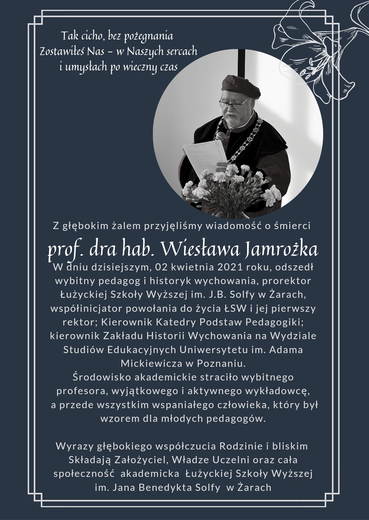 Nota kondolencyjna - dr hab. Wiesław Jamrożek